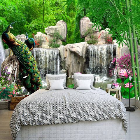 DIY 3D Wall Murals Peacock in Bamboo Forest
