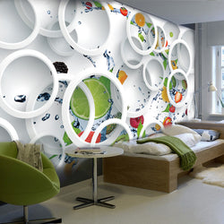DIY 3D Wall Murals White Ring Cycle Fruits Abtract