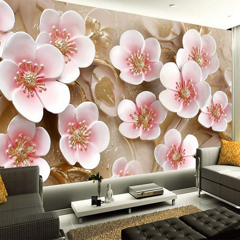 DIY 3D Wall Murals Pink Flowers Abtract