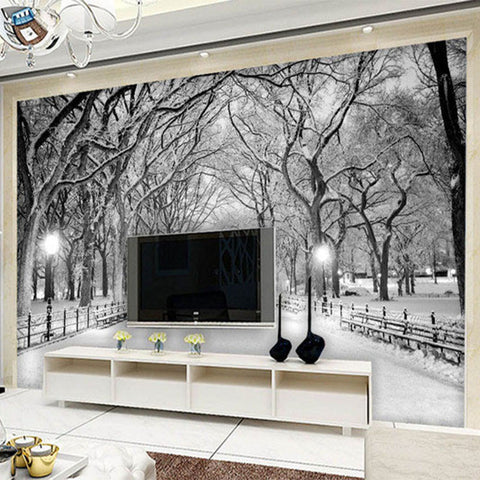 ... DIY 3D Wall Murals Black And White Snow ... Part 67