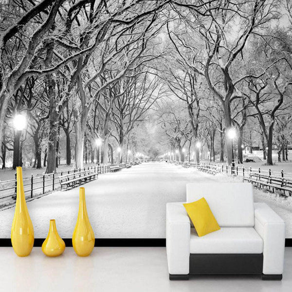 DIY 3D Wall Murals Black And White Snow