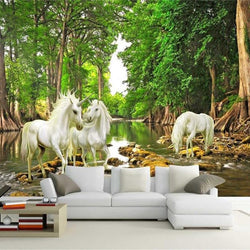 DIY 3D Wall Murals Unicorn In The Forest
