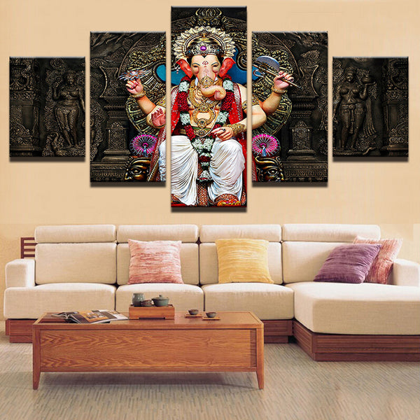 Lord Ganesha 5 Pieces Canvas Wall Art Home Decor