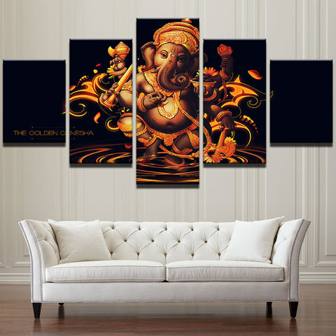 Ganapati Hindu Framed Print 5 Pieces Canvas Wall Art Home Decor