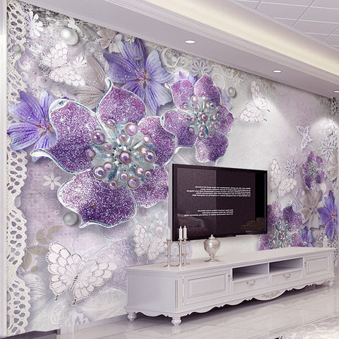 DIY 3D Wall Murals European Style Embossed Abtract