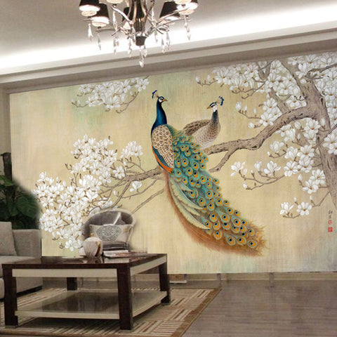 DIY 3D Wall Murals Peacock couple Home Decor Craft