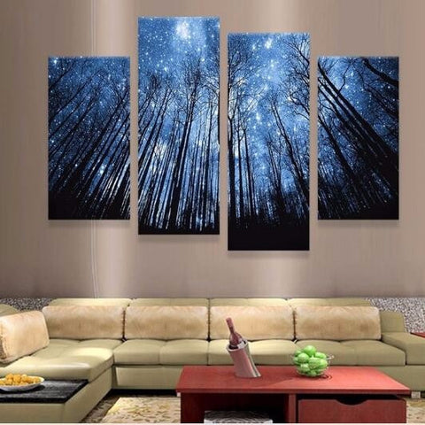 Starry Night 4 Pieces Canvas