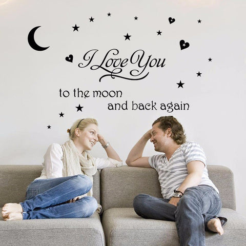 I Love You To The Moon And Back Quote Wall Sticker