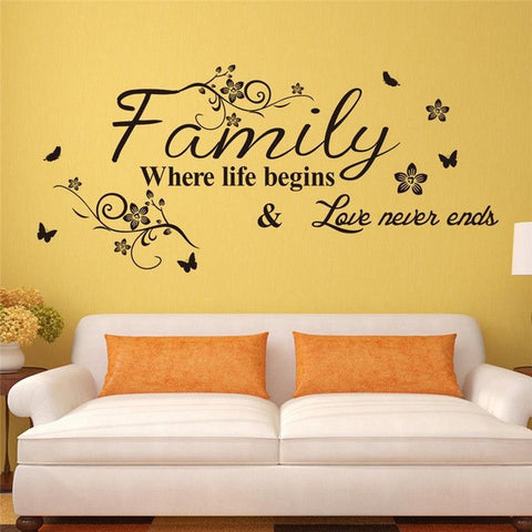 Family where life begins, love never ends quotes wall stickers