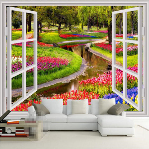 3D Wall Murals Green Flowers with Fake windows