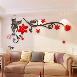 Flower Vine Acrylic Crystal Wall stickers