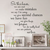 In this house we are real Quote Wall Stickers