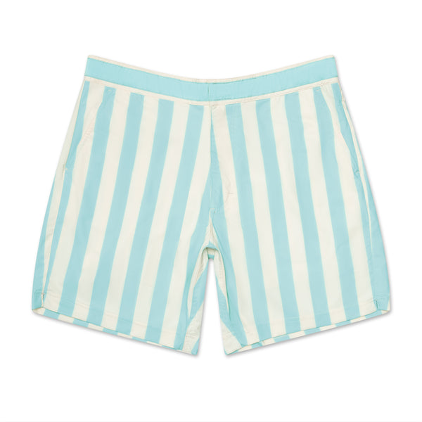 Retro Electric Blue Stripe - Athletic Stretch Swim Trunk