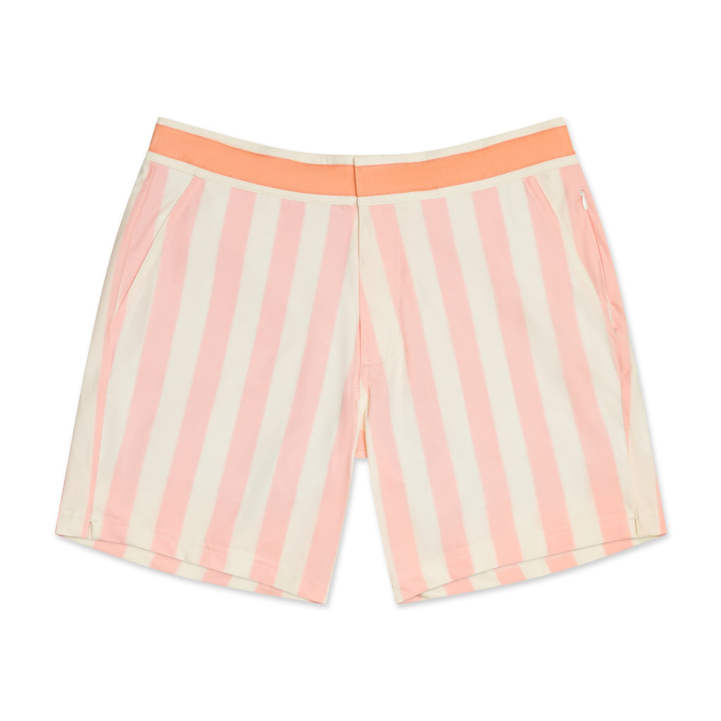 Retro Coral Stripe - Athletic Stretch Swim Trunk (Preorder)