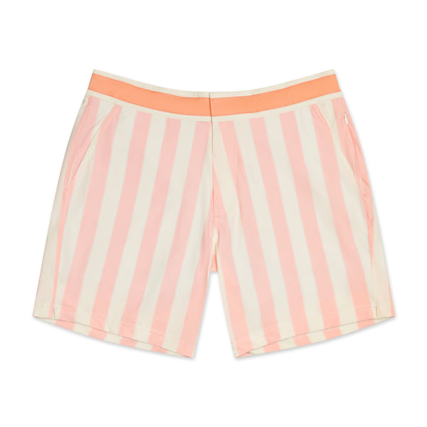 Retro Coral Stripe Swim Shorts