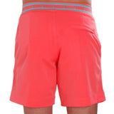 Neon coral swim trunk on model back view