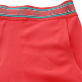 Neon coral swim trunk detail waistband view