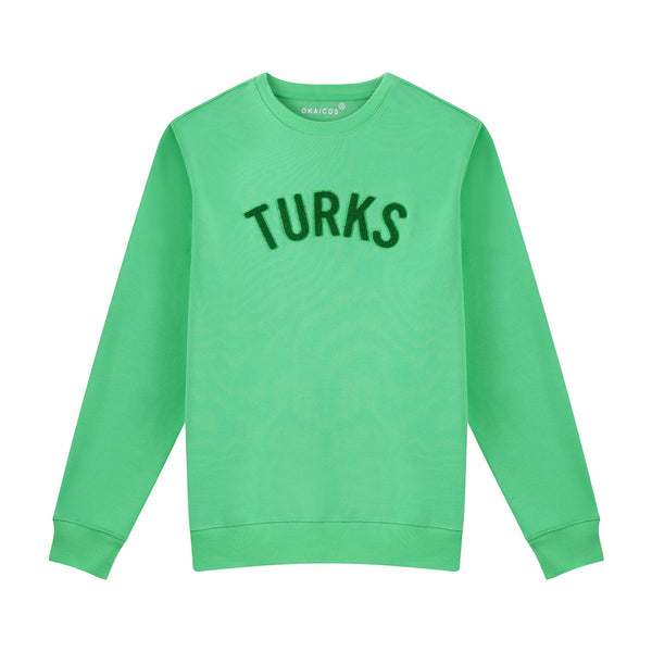 Green Chenille Embroidered Crew Neck Cotton Sweatshirt Embroidered Turks And Caicos