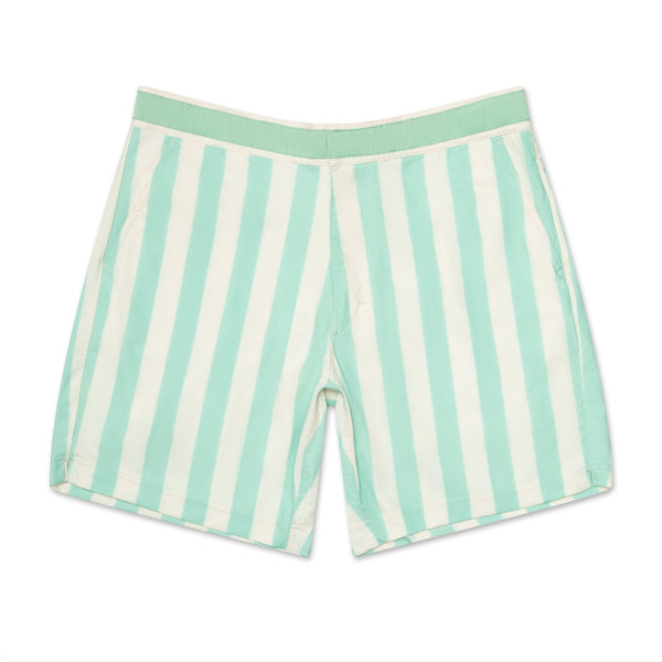 Retro Sea Foam Green Stripe - Athletic Stretch Swim Trunk