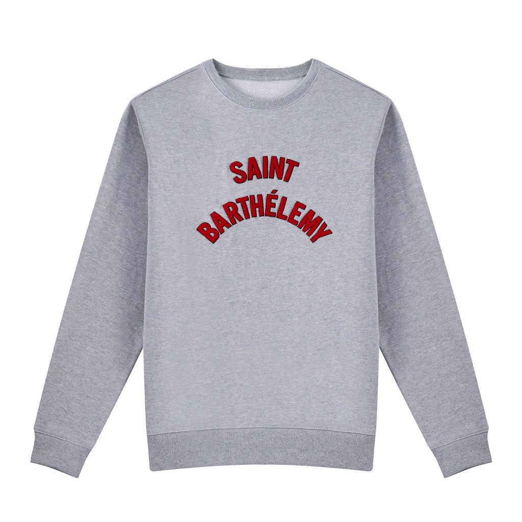 Grey Chenille Embroidered Crew Neck Cotton Sweatshirt Embroidered Saint Barthelemy