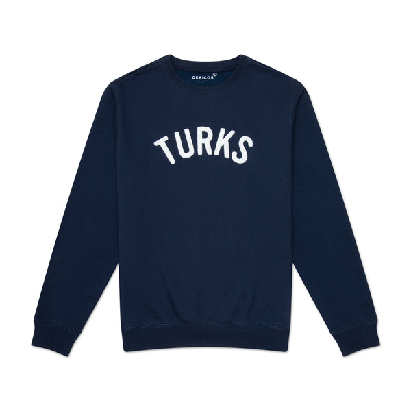 Navy Turks Chenille Embroidered Crewneck