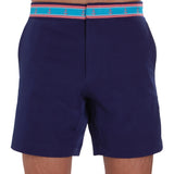 Navy blue swim trunk on model front view