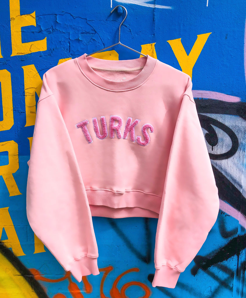 Pink Chenille Embroidered Crew Neck Cotton Sweatshirt Embroidered Turks And Caicos Crop Top