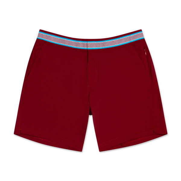 St Barth Red Herring Bone Athletic Mens Swim Trunk Swim Short