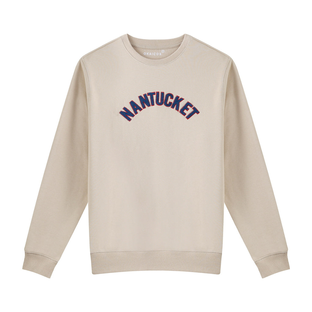 Tan Chenille Embroidered Crew Neck Cotton Sweatshirt Embroidered Nantucket