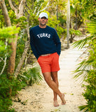 Turks Chenille Embroidered Crewneck Against Palm Tree Turks and Caicos