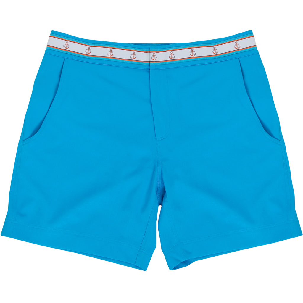Turquoise blue swim trunk flat lay with anchor trim waistband
