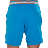 Turquoise blue swim trunk on model back view