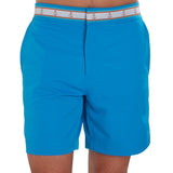 Turquoise blue swim trunk on model front view