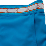 Turquoise blue swim trunk detail waistband view