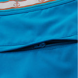 Turquoise blue swim trunk detail back view