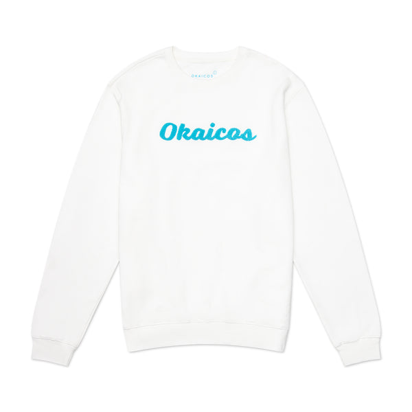 White OKAICOS Chenille Embroidered Crewneck