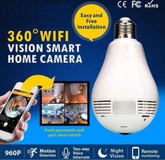 Light Bulb Fish Eye SPY Cam - 360° Full View + Motion Detection