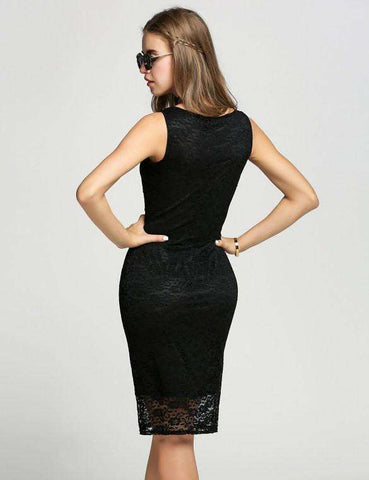 Casual Round Neck Bodycon Pencil Dress