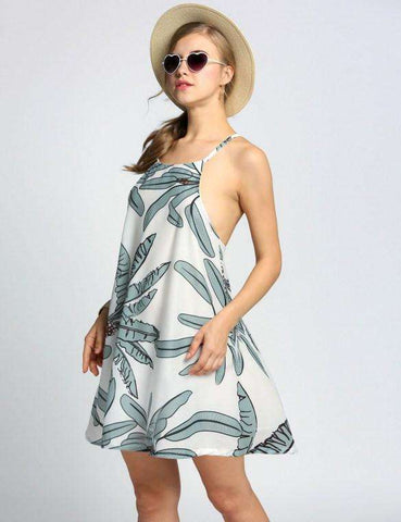 Cross Strap Backless Print Beach Swing Dress