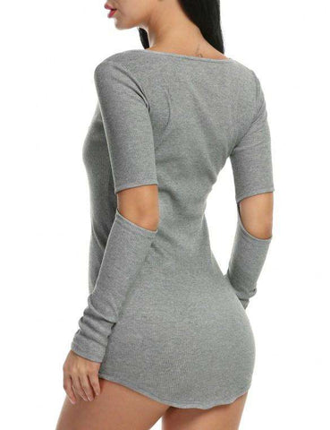 Cut-out Elbow Package Hip Club Mini Dress