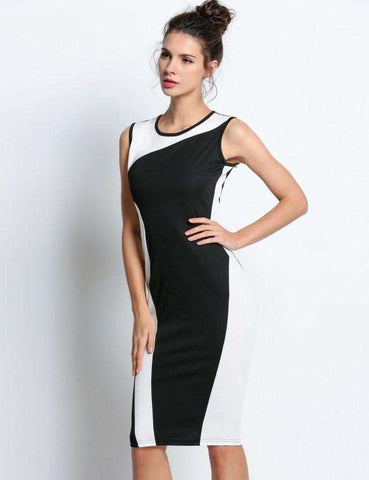 Geometry Design Sleeveless O-Neck Stretchy Evening Slim Dress