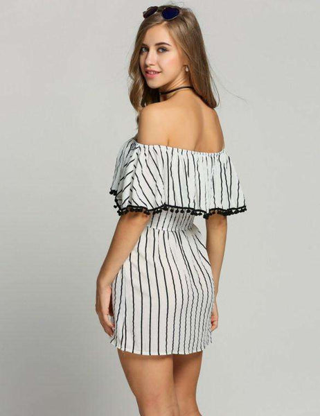 Off Shoulder Ruffle Striped Casual Tassel A-Line Dress
