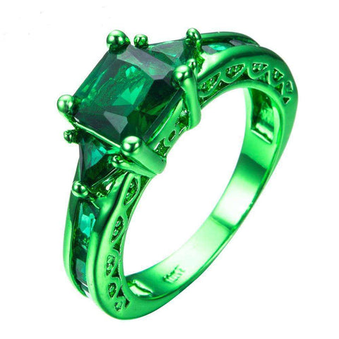 Cubic Zirconia Geometric Ring