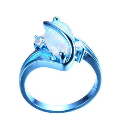 White Fire Opal Ring Blue