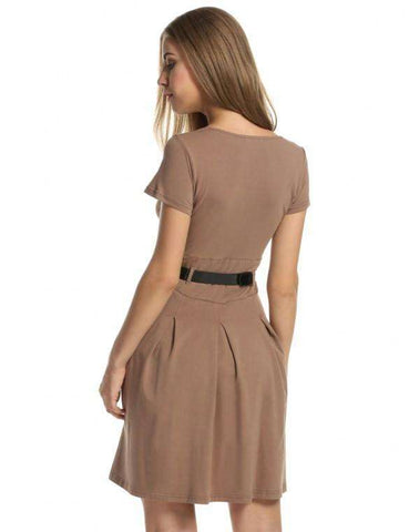 Short Sleeve Pleated Skater Dress W/ Belt