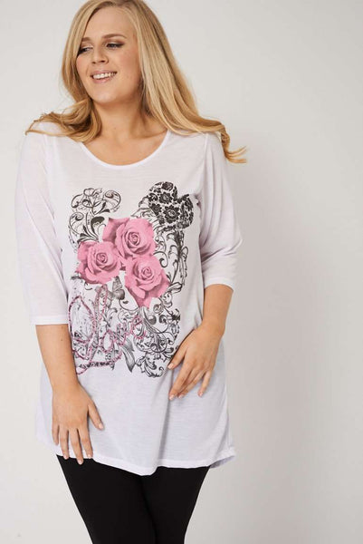 SLOUCHY FLORAL LOVE PRINT TOP