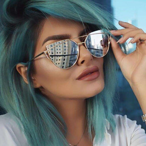 Cat Eye Mirrored Flat Lenses Sunglasses