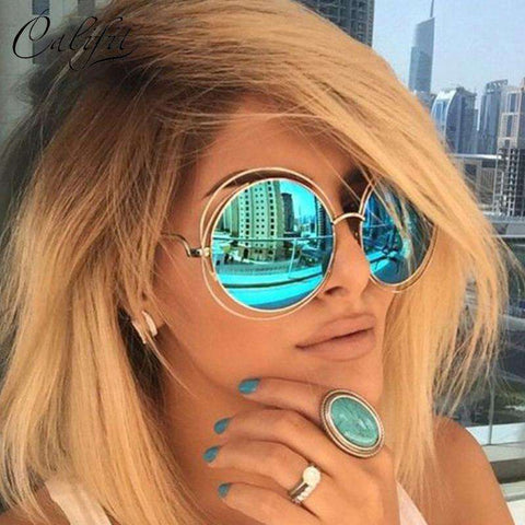Oversized Mirror Round Sunglasses Retro Shades