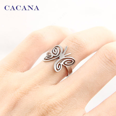 CACANA Titanium Butterfly Ring