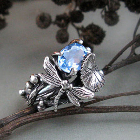 Zircon Gemstone Dragonfly Ring